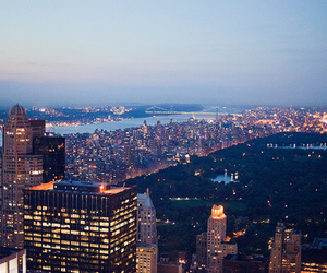 city, lights, and new york image