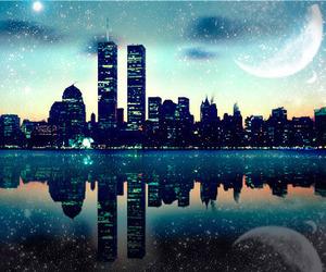 city, moon, and night image