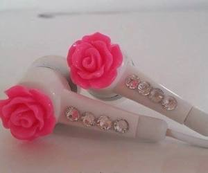 rose, pink, and headphones image