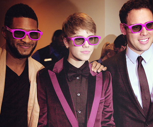 justin bieber, usher, and purple glasses image