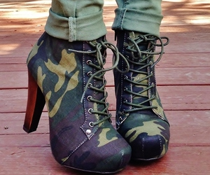 ankle boots, camo, and fashion image