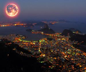 moon, city, and light image