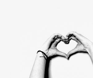 heart, hands, and black and white image