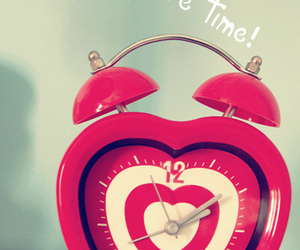 love, clock, and pink image
