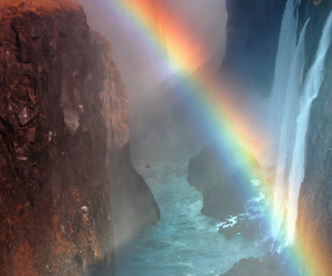 rainbow, nature, and waterfall image