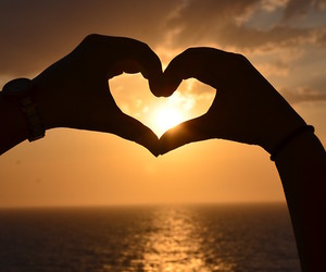 heart, sea, and sunset image