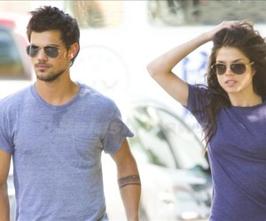 couple, Taylor Lautner, and marie avgeropoulos image