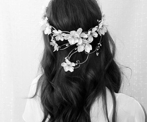 black and white, flowers, and hair image
