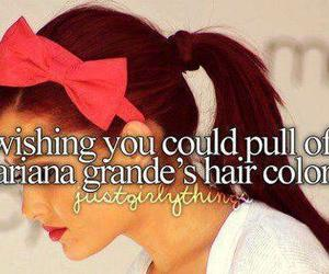 ariana grande, hair, and red image