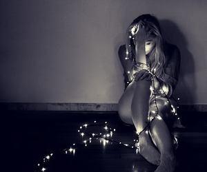 girl, light, and sad image
