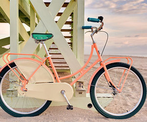 beach, bike, and pink image