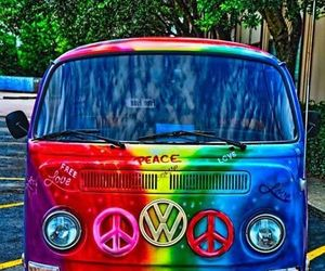 peace, rainbow, and hippie image