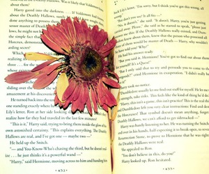 book, deathly hallows, and flower image