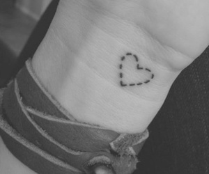 b&w, heart, and little tattoo image