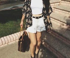 clothes, white crop top, and high waisted shorts image