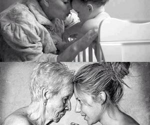 aging, black and white, and daughter image