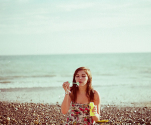 blowing bubbles, bubbles, and girl image