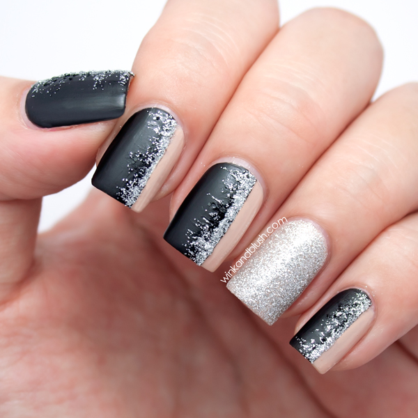 Matte Black Nude Glitter Nail Art Tutorial