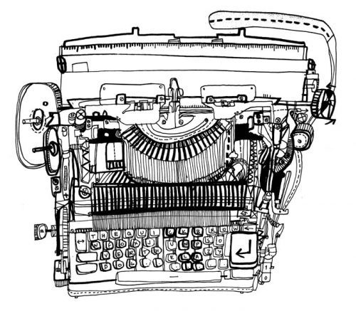 illustration and typewriter image