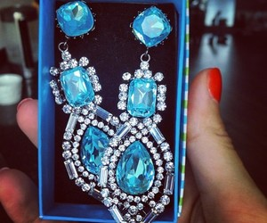 blue, earrings, and jewelry image