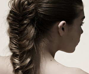 brunette, pale, and fishtail image