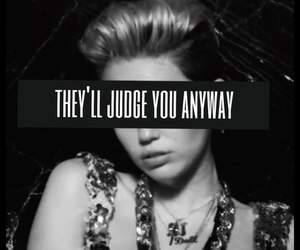 miley cyrus, black and white, and text image