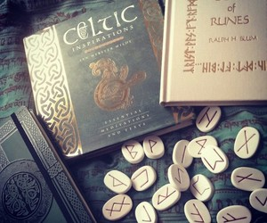 book, celtic, and runes image