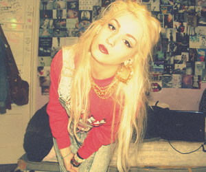 blonde hair, Piercings, and dungarees image