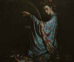 flowers, harp, and japanese image
