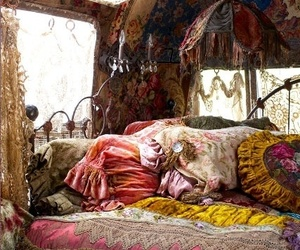 bed, bedroom, and bohemian image