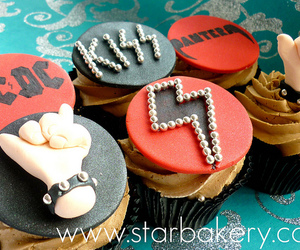 cupcake, rock, and kiss image