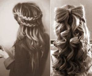 curly hair, waterfall braid, and hairstyles image