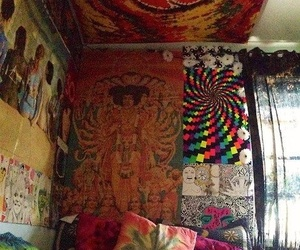 cat, room, and hippie image