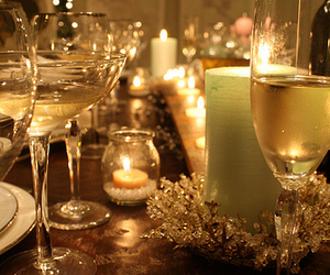 candles, champagne, and glasses image