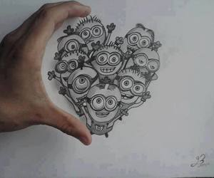 minions, drawing, and heart image