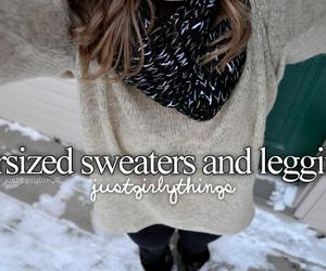 sweater, leggings, and winter image