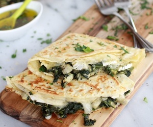 cheese, crepes, and spinach image