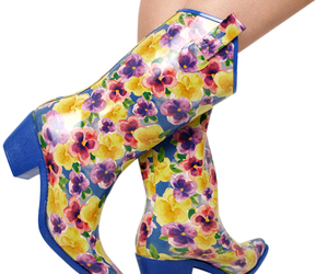 cowboy boots, floral, and wellies image