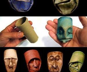 faces, sculpture, and papier image