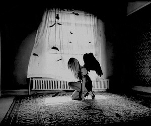 angel, black, and black and white image