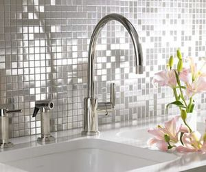 faucet, sink, and tile image