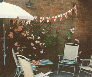 england, flowers, and chairs image