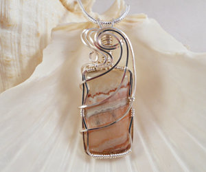 beige, pendant, and wire wrapped image