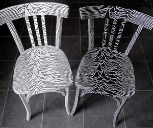 joy division, black and white, and chair image