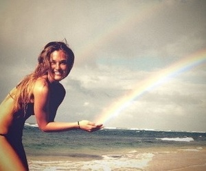 girl, rainbow, and beach image