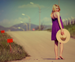 purple, barefoot, and dress image