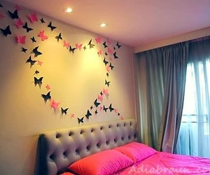 pink, butterfly, and bedroom image