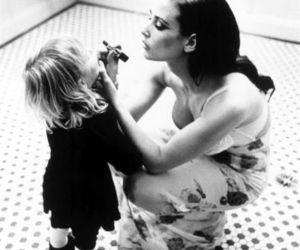 mother, black and white, and child image