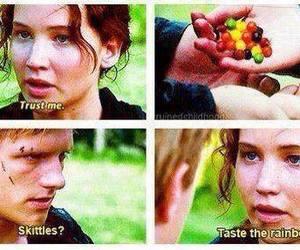skittles, katniss, and peeta image