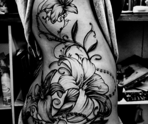 flowers, tattoo, and love image